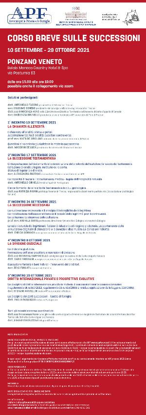 Anteprima locandina Corso breve sulle successioni 10 settembre - 29 ottobre 2021.