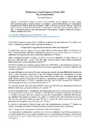 Anteprima documento Mediazione e crisi di impresa in Italia, 2021 Ma, la formazione?