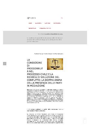 Anteprima documento La condizione di procedibilità nel processo civile e la ricerca di soluzione del conflitto: la doppia anima della presenza delle parti in mediazione