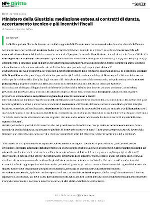 Anteprima documento Ministero della Giustizia: mediazione estesa ai contratti di durata, accertamento tecnico e più incentivi fiscali