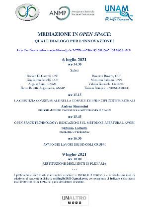 Anteprima locandina Mediazione in open space: quale dialogo per l'innovazione?