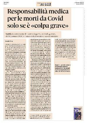 Anteprima documento Responsabilità medica per le morti da covid: solo se è colpa grave